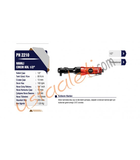 Proter PH 2210 Havalı Cırcır Kol 1/2''