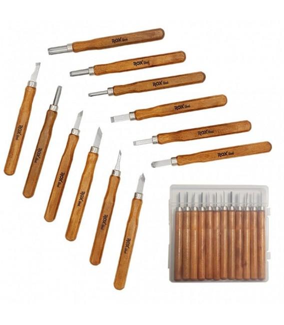 ROX Wood 4504 Mini Ahşap Oyma Bıçak Seti 12 Parça Pvc Çantalı