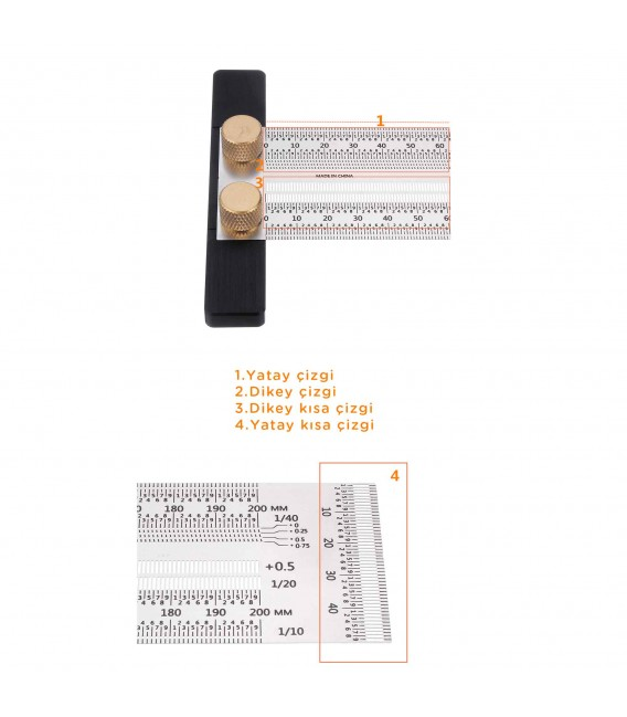 Rox Wood 0090 Hassas İşaretleme Şablon Paslanmaz T Cetvel 300 mm